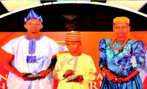 *From left; Babatimileyin Daomi,Winner of Intellectural; Salisu Ibrahim,Winner of Social Bravery and Favour Uminene,Winner of Physical Bravery at the 2016 Indomie Independence day Award for Nigerian Heros in Lagos. PHOTO: AKEEM SALAU