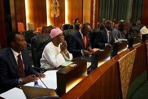 Works, Housing minister Raji Fashola (4th from left) at FEC meeting on Wednesday.