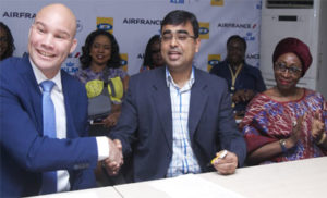Commercial Director Nigeria and Ghana, Air France KLM, Mr. Arthur Dieffenthaler; Chief Marketing Officer, MTN Nigeria, Mr. Rahul De and Human Resource and Corporate Services Executive, Mrs. Amina Oyagbola at the MTN – Air France KLM partnership announcement in Lago