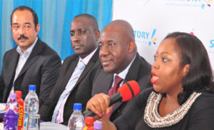 From Left; Rajiv Das, Deputy Managing Director; Seyi Adesomi, Plant Director, Agbara Plant; Chinedum Okereke, Managing Director and Rosemary Akpo, Marketing Director all of Suntory Beverage & Food Nigeria Limited, at a press conference to announce the entrance of Suntory Beverage & Food Nigeria Limited into the Nigerian Market in Lagos yesterday.