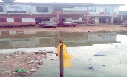 "The front view of Trans Garden, Egbu Road and the ""lake"" created in front of business premises along Egbu Road, through the urban renewal programme of Imo State"