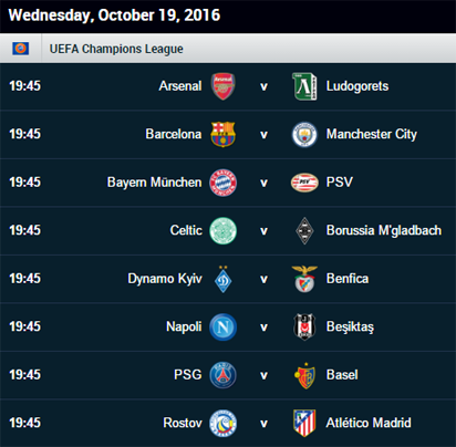 Uefa Champions League Fixtures For Today Uefa
