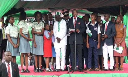 Gov. Udom Emmanuel with some students