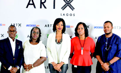 L-R Segun Ogunleye; Bisi Silva (Artistic Director); Tokini Peterside (Founder & Director, ART X Lagos); Olubusola Osilaja; and Atowari Peterside at the Wheatbaker Hotel, Lagos.