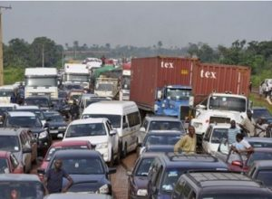 Motorists trapped along the Benin-Lagos highway following the protest