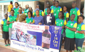"WALK: Members of Hospital and Palliative Care during a walk to mark the 2016 World Hospice and Palliative Care Day celebration with the theme: ""Living and Dying in Pains it does not have to happen"" held at the University College Hospital Ibadan on Friday."