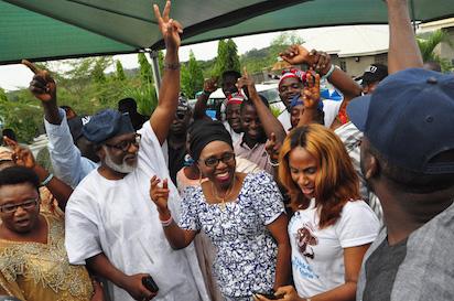 APC Governor-Elect in Ondo state ,Rotimi Akeredolu jubilating.PHOTO;AKEEM SALAU