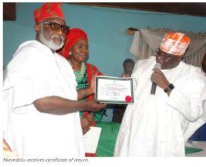 Akeredolu receives certificate of return.