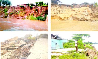 Different stages of landslide erosion in Onyah community