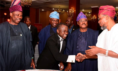 Osun state Governor, Ogbeni Rauf Aregbesola (right) in a warm handshake with Board Member of Tristate Heart Foundation, Prof. Kamar Adeleke, Oyo State Governor, Senator Abiola Ajimobi (2nd right), Lagos State Governor, Mr. Akinwumi Ambode (2nd left) and Ogun State Governor, Senator Ibikunle Amosun (left), at the 1st Annual Black Tie Gala organised by Tristate Heart Foundation in support of Cardiovascular Care in Nigeria, at Oriental Hotel, Lekki, Lagos state, on 29/11/2016.