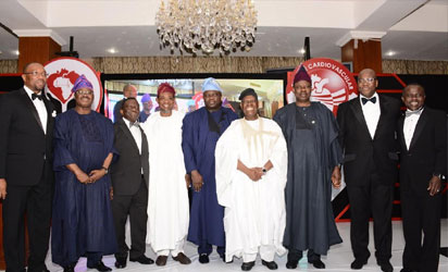 Osun state Governor, Ogbeni Rauf Aregbesola (4th left), Chiarman Tristate Heart Foundation, Chief Bisi Akande (4th right), Minister for health Osun, Prof Isaac Adewole (3rd left), Board Member of Tristate Heart Foundation, Prof. Kamar Adeleke (right), Oyo State Governor, Senator Abiola Ajimobi (2nd left), Lagos State Governor, Mr, Akinwumi Ambode (5th left), Ogun State Governor, Senator Ibikunle Amosun (3rd right), Vice Chiarman Tristate Heart Foundation, Mr. John Momoh (2nd right), and others at the 1st Annual Black Tie Gala organised by Tristate Heart Foundation in support of Cardiovascular Care in Nigeria, at Oriental Hotel, Lekki, Lagos state, on 29/11/2016.