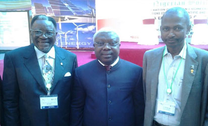 L-R, President,  Nigerian Society of Engineers, Engr. Otis Anyaeji,  FNSE, FA Engr., Senator (Dr.) Iyiola Omisore  Phd., FNSE,  FA Eng, CON, & Engr. Mustapha B. Shehu, FNSE, FSESN, President, Federation of African Engineering Organisations (FAEO) at the 2016 NSE Conference & African Engineering Week  in conjunction with UNESCO.,  21-25, November 2016 in Uyo, Akwa Ibom State, Nigeria
