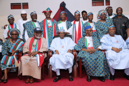President Buhari joined by R-L: Senate President Dr Bukola Saraki , APC National Chairman John Odigie-Oyegun, Ondo APC Gubernatorial Candidate Rotimi Akeredolu and his wife as he joins in a group photo with Ondo APC Gubernatorial Aspirants shortly after meeting with APC Stakeholders in Ondo State on 19th Nov 2016