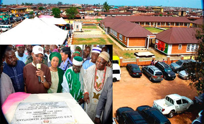 Newly inaugurated AUD Government Elementary School, Sabo, Osogbo. Inset: From left, The School project contractor, Mr Sheu AbdulKadir; Governor Rauf Aregbesola of Osun state; his wife, Sherifat; Chief imam AUD Central Mosque, Alhaji Yunus Sanusi; the Ataoja of Osogbo, Oba Jimoh Olanipekun and others on Tuesday 29-11-2016