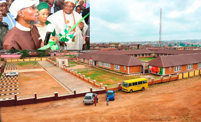 Newly inaugurated AUD Government Elementary School, Sabo, Osogbo. Inset is from left, Governor Rauf Aregbesola of Osun state; his wife, Sherifat; and the Ataoja of Osogbo, Oba Jimoh Olanipekun and others on Tuesday 29-11-2016
