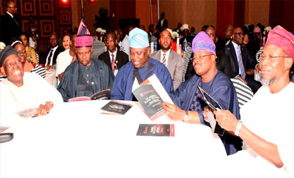 From right- Osun state Governor, Ogbeni Rauf Aregbesola, Oyo State Governor, Senator Abiola Ajimobi, Lagos State Governor, Mr, Akinwumi Ambode, Ogun State Governor, Senator Ibikunle Amosun, Chiarman Tristate Heart Foundation, Chief Bisi Akande, at the 1st Annual Black Tie Gala organised by Tristate Heart Foundation in support of Cardiovascular Care in Nigeria, at Oriental Hotel, Lekki, Lagos state,