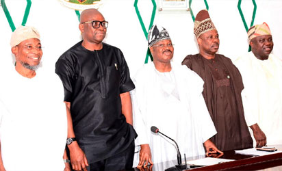 From left- Osun state Governor, Ogbeni Rauf Aregbesola, Ekiti State Governor, Mr. Ayodele Fayose, Oyo State Governor, Senator Abiola Ajimobi, Ogun State Governor, Senator Ibikunle Amosun and Lagos State Governor, Mr. Akinwumi Ambode during the Southwest governor's economic forum, at Exco Chamber, Oyo state Governor's office, Ibadan, Oyo state on Monday 21/11/2016.