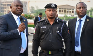 Lagos State Governor, Mr. Akinwunmi Ambode; Commander, RRS, ACP Tunji Disu and Permanent Secretary, Office of Chief of Staff, Mr. Abiodun Bamgboye  during the handing over of 3 Patrol Vehicles and 45 Power Bikes to the Rapid Response Squad (RRS) at the Lagos House, Ikeja, on Monday, December 5, 2016.