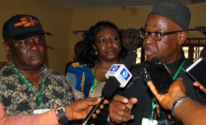 From left: Resident Electoral Commissioner for Rivers State, Mr Aniedi Ikoiwak; a National Commissioner of INEC, Prof. Anthonia Simbine; and the INEC National  Commissioner in-charge of South South,Mr Mustapha Lekki, addressing journalists during the polls yesterday.