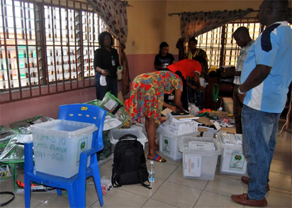Electoral officers returning materials issued to them by INEC at South-South Zonal Store after the Rivers Legislative Rerun Election in Port Harcourt on Saturday