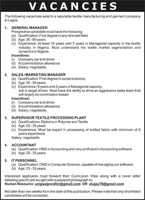 Vacancies Vanguard News Nigeria