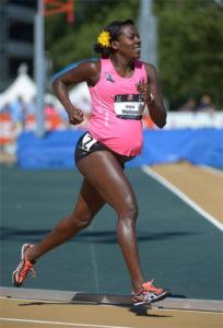 Five months pregnant Montano runs 800m race