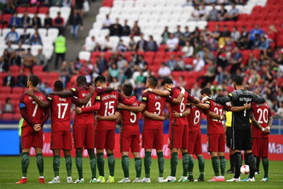 0679a716af0 ... a minute of silence before the 2017 Confederations Cup group A football  match between Portugal and Mexico at the Kazan Arena in Kazan on June 18