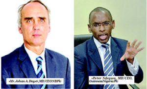 From L-R: Mr. Johan A. Doyer, MD/CEO NB Plc & •Peter Ndegwa, MD/CEO, Guinness Nigeria Plc
