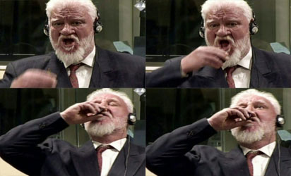 Slobodan Praljak: commits suicide right in court in front of camera by drinking poison