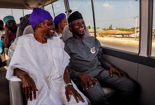 VP Yemi Osinbajo, Osun Governor, Ogbeni Rauf Aregbesola and others on a tour during the launching of  MSME in Osun