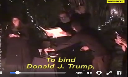Witches performing rituals for President Trump's government to fail