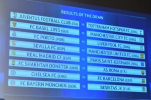 The UEFA draw for Round of 16