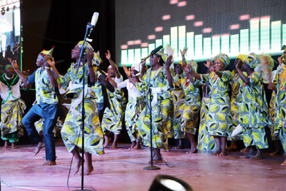 members of the african praise choir entertaining worshipers during the 2017 christmas praise concert at the state house conference centre abuja - Christmas Praise Dance