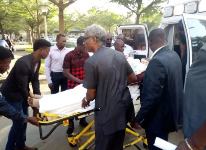 Metuh arrives court in Ambulance