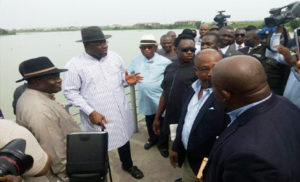 Governor Dickson and other dignitaries during the occasion of the commencement of a aviation services in Bayelsa state.