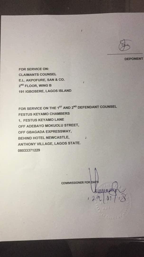 Stephanie Otobo's affidavit