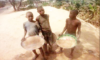 Needy C-River school kids risk infection sieving rice chaff