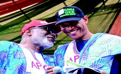 •Gov Rotimi Akeredolu and Chief Olusola Oke at the unification rally