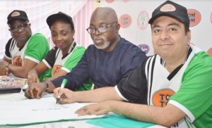 L-R: Director, Corporate and Government Affairs, West Africa, Cadbury, Mr. Bala Yesufu; Category Marketing Lead, West Africa, Cadbury, Mrs. Chidinma Uwadiae; President, Nigeria Football Federation (NFF), Mr. Amaju Pinnick; Managing Director, West Africa, Cadbury, Mr. Amir Shamsi and Finance Director, West Africa, Cadbury, Mrs.Yimika Adeboye, at the Cadbury/NFF partnership unveiling TOMTOM as the official candy of the Super Eagles in Lagos
