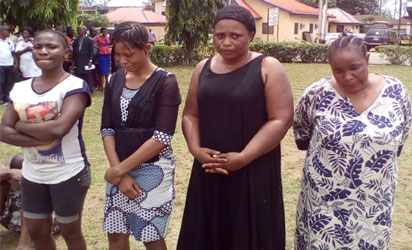 From left, Chiamaka Ukeje, Sandra Ezuka, Ruth Solomon and Joy Blessing, paraded at the Imo Police Headquarters, yesterday. Photo: Chinonso Alozie.