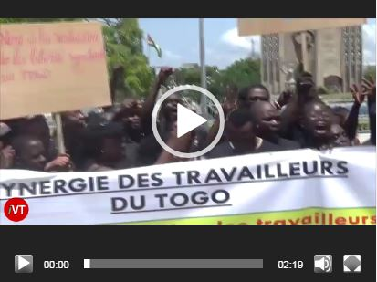 Trade union members protest in Togo