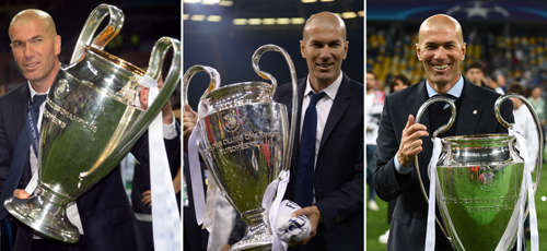 A Combination Of Three File Pictures Made On May 26 2018 Shows Real Madrids French Coach Zinedine Zidane Holding The UEFA Champions League Trophy In From