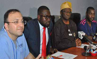 •From left: Team leader, Voom Foundation  USA, Dr. Reza Khodaverdian; Senior Special Assistant to the Governor of Lagos State on Health, Dr. Sola Pitan; Chief Medical Director, LASUTH, Prof. David Adewale Oke and  Head of  Cardiothoracic Division, LASUTH, Dr. Bode Falase, during a press conference on Free Cardiac Surgical Mission between LASUTH and Voom Foundation held in LASUTH, Lagos, last Friday.