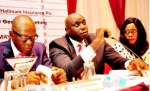 From left: Mr. Eddie Efekoha, Managing Director/CEO; Obinna Ekezie, Chairman; and Rukevwe Falana, Company Secretary, all of Consolidated Hallmark Insurance Plc during the company's 23rd annual general meeting in Lagos.