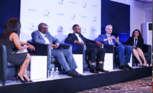 """*From right: President, Healthcare Federation of Nigeria, Clare Omatseye; CEO, Philips Africa, Jasper Westerink; Head, Health Desk, ThisDay, Martins Ifijeh; Commissioner of Health, Lagos State, Dr. Jide Idris, during a panel discussion on """"The Role of Technology in the Transformation of Healthcare in Nigeria"""" at the Philips Future Health Summit held in Lagos last week."""