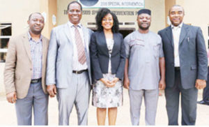 •From left: Principal Manager, Finance, Administration and Strategy, Private Sector Health Alliance of Nigeria, Mr. Dayo Lomuwagun; Dean, Faculty of Pharmaceutical Sciences, UNN, Prof. Godswill C. Onunkwo; Regional Director, Africa Resource Centre for Supply Chain, ARC, Nigeria, Azuka Okeke; Associate Dean, Faculty of Pharmaceutical Sciences, UNN, Dr. Chukwuemeka S. Nworu; and Chairman, Royale Resources Ltd & Lead Consultant, Maxwells Consulting Ltd, Pharm Chijioke Ofomata at the signing of MoU between Faculty of Pharmaceutical Sciences, UNN and ARC Nigeria in Enugu recently.