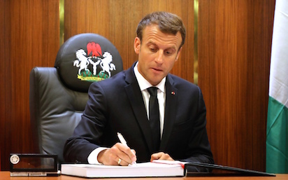Video of France President blowing pidgin is exciting Nigerians