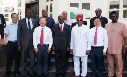 •Governor David Umahi of Ebonyi State, Chief Cletus Ibeto of Ibeto Group of Companies and others at Government House, Abakaliki after a courtesy call.