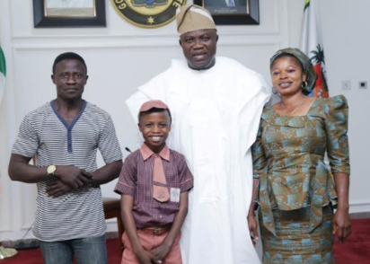 Governor Ambode hosts Kareem Waris 11-year-old hyperrealist artist and his parent