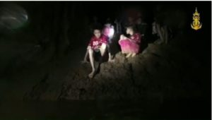 Some of the Thai boys trapped inside the cave